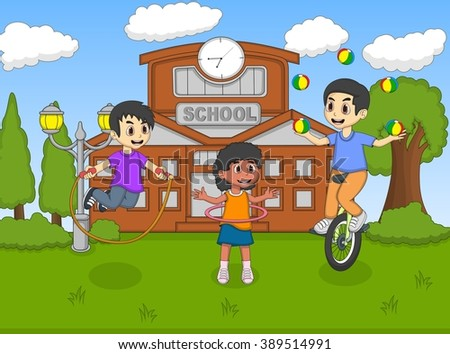 Children play unicycle and juggling at the school cartoon vector illustration