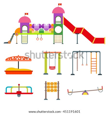 Children Playground with swings. Place for children play in yard. Children Playground equipment drawn in flat style vector. Childrens Playground. Kids playground. Playground cartoon game landscape. - stock vector