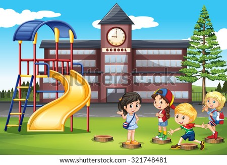 Children playing at school playground illustration - stock vector