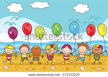 Children playing baloon at beach - stock vector