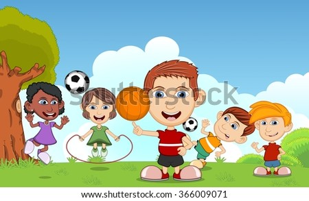 Children playing basketball, jumping rope, soccer in the park cartoon vector illustration - stock vector