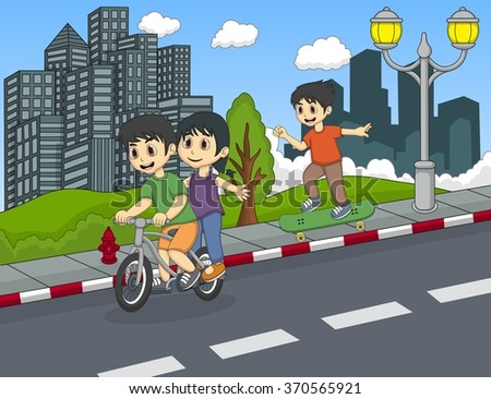 Children playing bicycle and skateboard on the street cartoon vector illustration - stock vector
