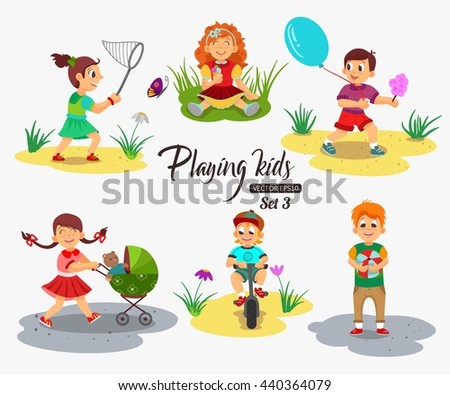 Children playing character isolated vector illustration. Girl holding cotton candy and ice cream. Kids cartoon. - stock vector