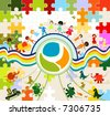 children playing; composition with kids, earth planet and animals - stock vector