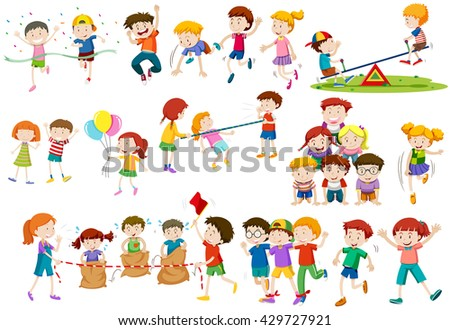 Children playing different games and activities illustration - stock vector