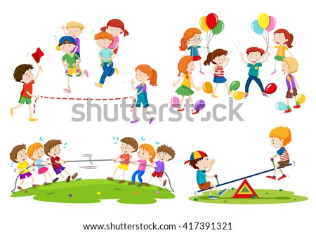 Children playing different games illustration - stock vector