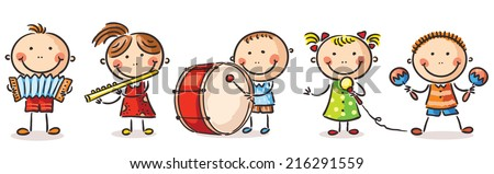 Children playing different musical instruments - stock vector