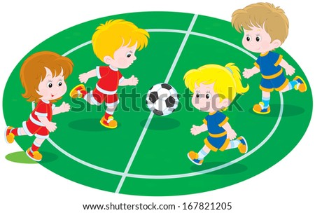 Children playing football - stock vector