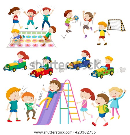 Children playing games and sports illustration - stock vector