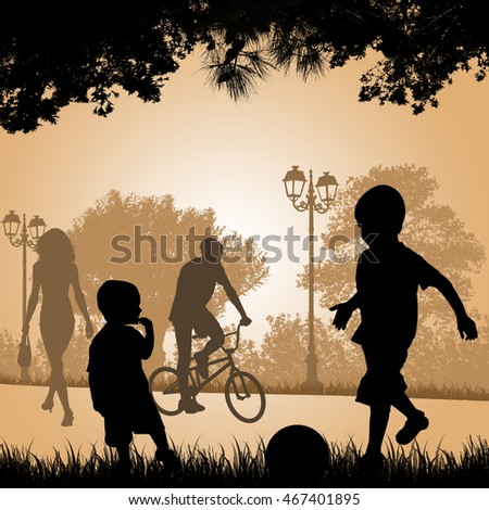 Children playing in a city park at sunset, vector illustration