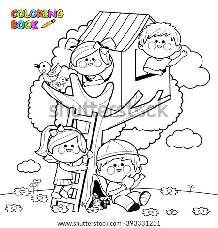 Children playing in a tree house coloring book page