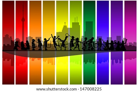 Children playing in the city street, vector - stock vector