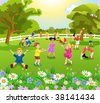 children playing in the garden - stock vector