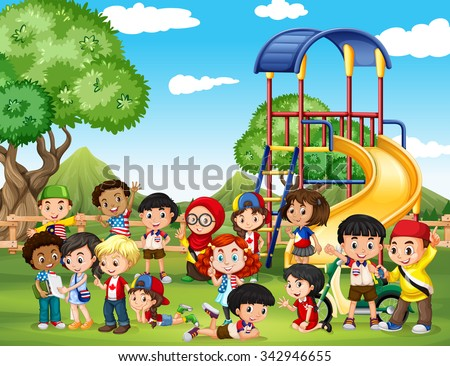 Children playing in the park illustration - stock vector
