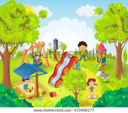 Children Playing Park Vector Illustrati Stock Vector ...
