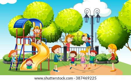 Children playing in the public park illustration - stock vector