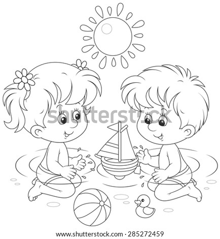 Children playing in water - stock vector