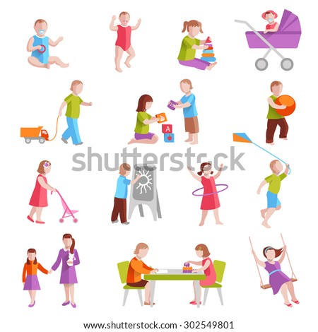 Children playing indoors and outside flat characters set isolated vector illustration - stock vector