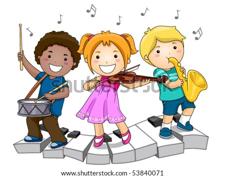 Children playing Musical Instruments - Vector - stock vector