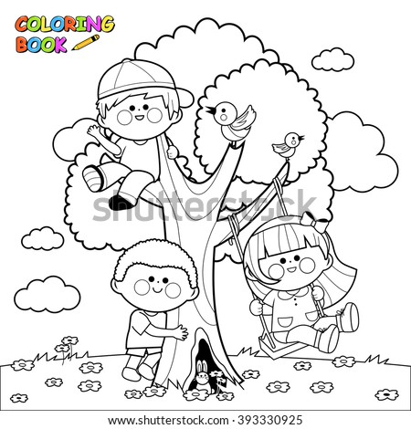 Children playing on a tree coloring book page - stock vector