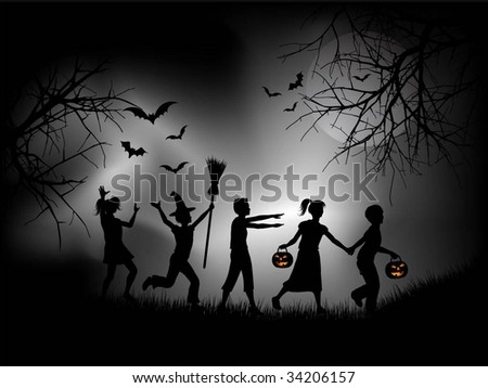 Children playing on Halloween night