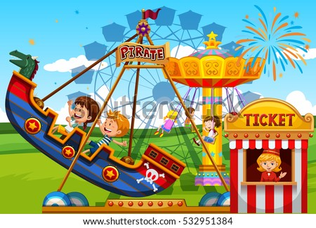 Children Playing On Rides At The Fun Park Illustration