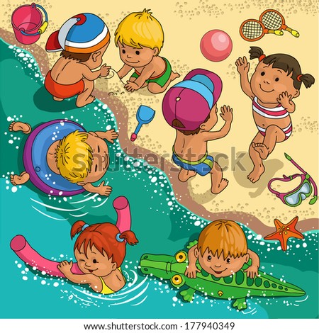 Children playing on the beach. - stock vector