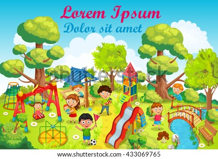 Children playing on the playground in the park vector.  - stock vector