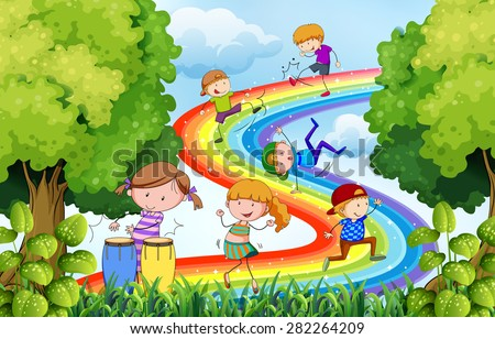 Children playing over the colorful rainbow - stock vector