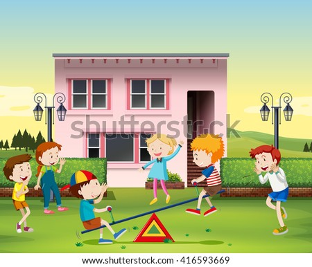 Children playing seesaw at the park illustration