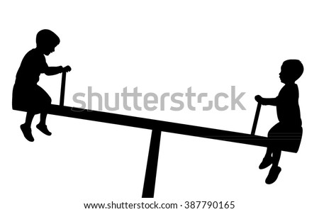 children playing, seesaw, silhouette vector - stock vector