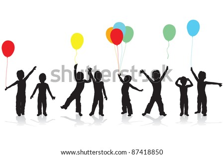 children playing silhouettes - stock vector