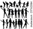 children playing silhouettes - vector - stock photo