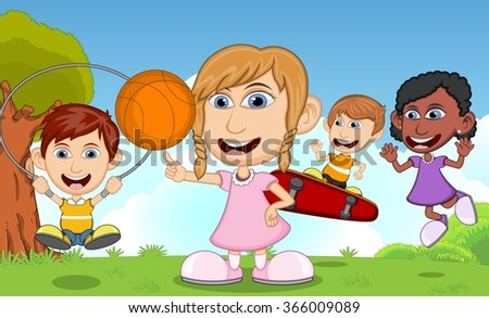 Children playing skateboard, basketball, jumping rope in the park cartoon vector illustration - stock vector