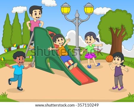 children playing slide at the park cartoon vector illustration - stock vector