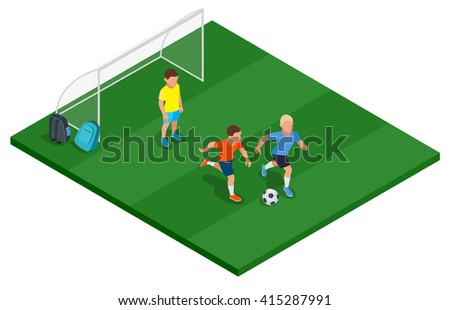 Children playing soccer outdoors. Flat 3d vector isometric illustration. - stock vector