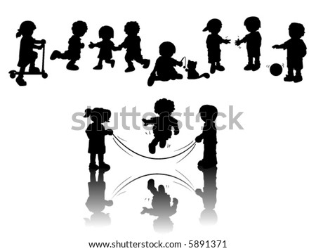 Children Playing - Vector Silhouette