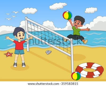 Children playing volleyball on the beach cartoon vector illustration - stock vector