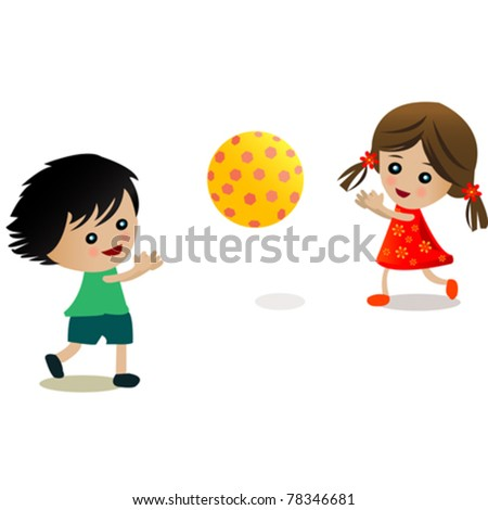 children playing with a ball llustration - stock vector