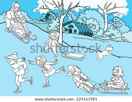 Children playing with snow. Christmas season. Black outline. Monochrome. Winter activities. Isolated objects on Snow Winter background. Great illustration for school books and more. VECTOR. - stock vector