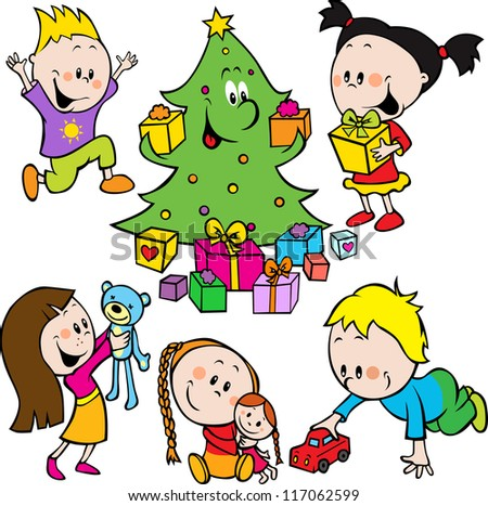 children playing with toys and christmas tree handing out gifts - stock vector
