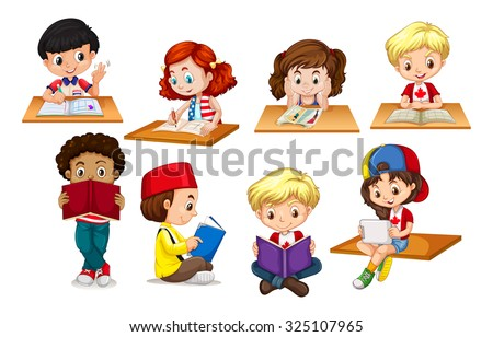 Children reading and writing illustration - stock vector