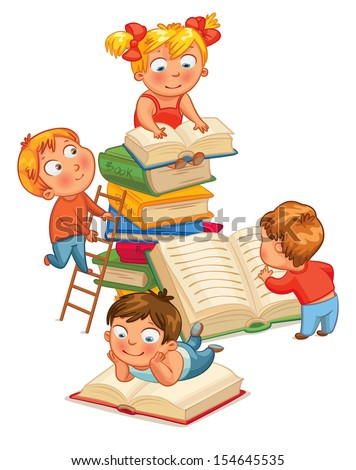 Children reading books in the library. Vector illustration. Isolated on white background - stock vector