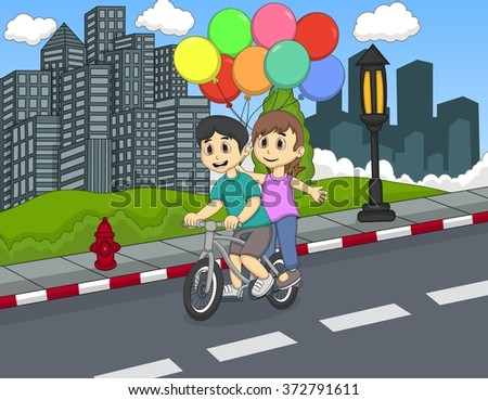 Children riding a bicycle on the street cartoon vector illustration - stock vector