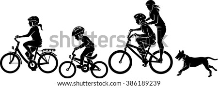 Children Riding Bicycle Silhouette - stock vector