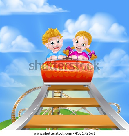 Children riding on a roller coaster ride at a theme park or amusement park