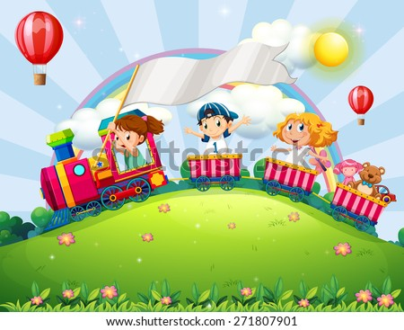 Children riding on a train in the park - stock vector