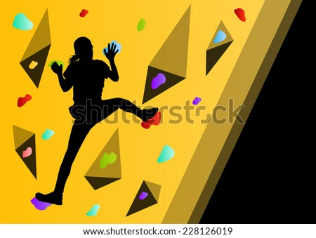 Children rock climber sport athlete climbing wall in abstract silhouette background illustration vector - stock vector