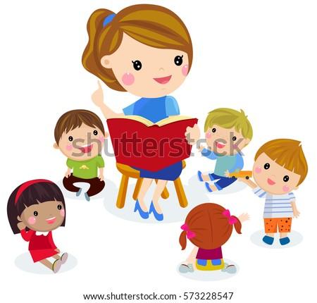 childrens activity kinder garden reading books stock vector 573228547 shutterstock. Black Bedroom Furniture Sets. Home Design Ideas