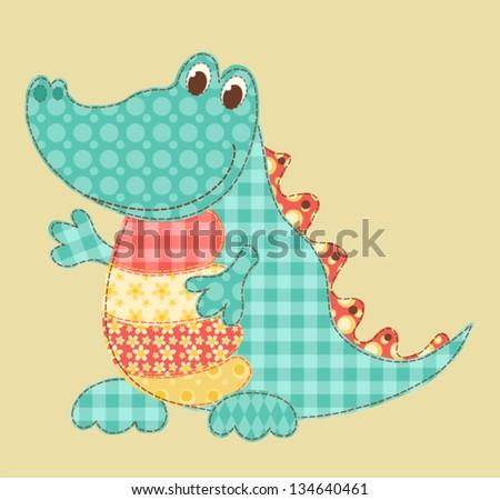 Children's application. Crocodile. Patchwork series. Vector illustration. - stock vector